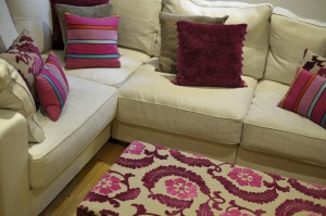 Beautiful DG cushions and upholstered footstool